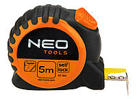Стальная рулетка neo 67-165 с возвратной пружиной 5 м x 25 мм фиксатор selflock