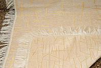 """Накидка на диван 150*200 . Покрывала полуторные на диван кровать тахту. """"БАМБУК"""" цвет - белое золото."""