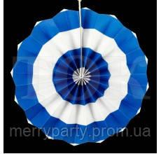 Веер бумажный 40 см синий круги