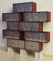 Шкаф  модульный ШМ 94в для виниловых пластинок из фанерованного МДФ и мрамора
