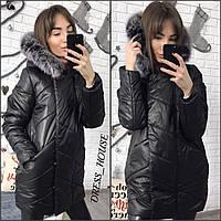 Стильная куртка материал плотная плащевка внутри силикон 200, мех натуральный, цвет черный