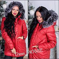 Стильная куртка материал плотная плащевка внутри силикон 200, мех натуральный, цвет красный