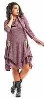Стильное женское платье большого размера с шарфом   +цвета