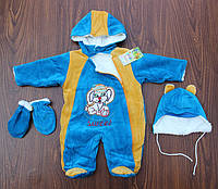 "Комбинезон ""Малыш""+шапка+рукавички рост 56-62 см(велюр+махра) синий, фото 1"