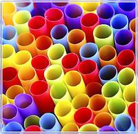 """Трубочки для коктейлей """"Трубочка"""" 265мм/50 шт. разные цвета"""