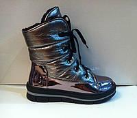 Полу сапожки сапоги женские дутики кожа зимние черные и никель код 450