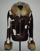 Натуральная куртка - дубленка з меха пони с лисой р. s-м
