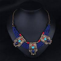 Ожерелье хэнд-мэйд с натуральными лазуритами,бирюзой и кораллами