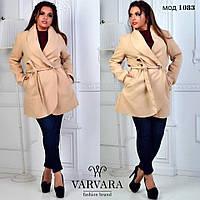 Женское кашемировое пальто с поясом большого размера. Ткань: кашемир. Размер: 48-50, 52-54