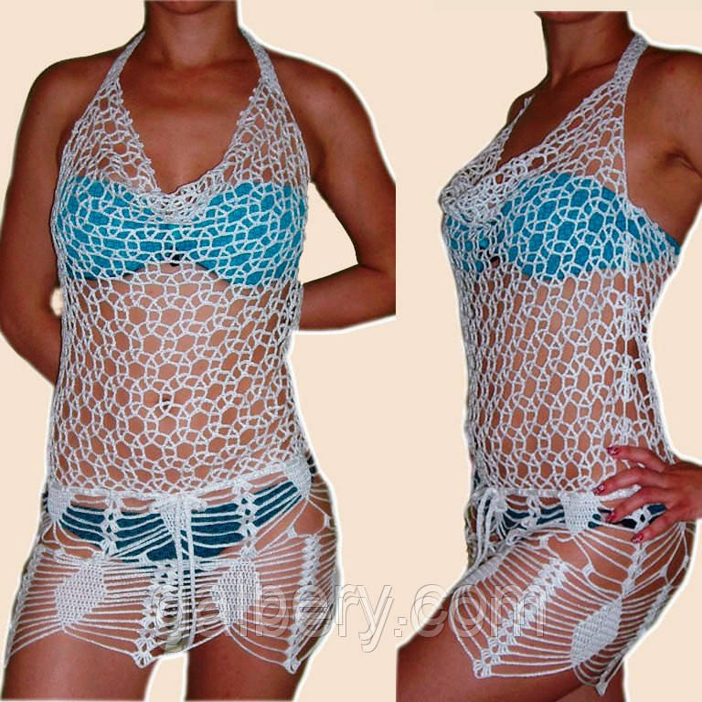 Вязаное крючком пляжное платье с ажурными принтами