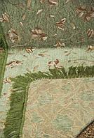 """Покрывало двусторонний гобелен """"Магнолия"""" на диван, кровать. Цвет - зеленый. Размер 160×220."""