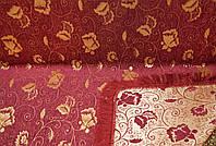 """Гобеленовое покрывало """"Пион"""" на кровать, диван. Цвет - бордовый. Размер 160×220."""