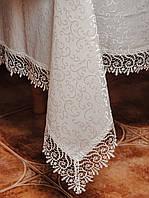 Шикарная белая скатерть с кружевом на раскладной стол
