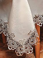 Красивая скатерть цвета шампань размера 130*160 см цвета с кружевом кофейного цвета на кухонный стол