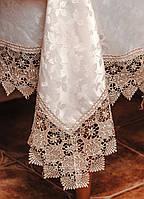 Шелковая  скатерть шампань с кружевом на раскладной стол