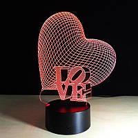"""LED ночник , светильник  3D, меняет 7 цветов, """"Сердце с любовью"""""""