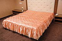 Атласное покрывало ПЕРСИК на двуспальную кровать