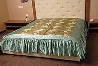 Покрывало РЕТРО на двуспальную кровать с атласными оборками