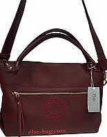Женская сумка из экокожи с широким ремнем марсала, фото 1