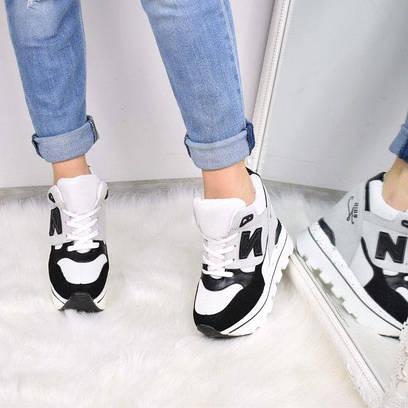 783ba7557367 Кроссовки женские на платформе N черно - белые 3633, спортивная обувь