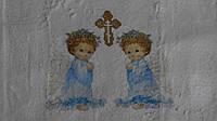"""Крыжма (75*90 см) """"Два ангела"""" на крестины"""