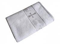 Крижма. Крестильное полотенце для крестин с ангелочками. Цвет серебро.