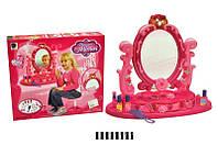Детский музыкальный макияжный столик с зеркалом 661-23, набор парикмахерский, трюмо