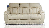 Світлий 3х місний шкіряний диван з спальною функцією