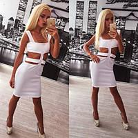 Модное белое платье с разрезами Olip n-31PL618