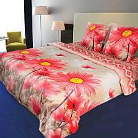 """Постельное белье """"Далия"""" на двуспальную кровать евро размера"""