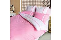 """Постельное белье """"Дуэт розовый"""" на двуспальную кровать евро размера"""