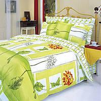 """Постельное белье """"Гербера оранжевая"""" Premium на двуспальную кровать евро размера"""