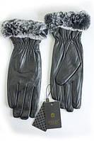 Женские зимние кожаные перчатки с опушкой