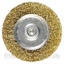 Щетка для дрели, 30 мм, плоская со шпилькой, латунированная витая проволока // MTX