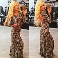 Леопардовое платье в пол с открытой спиной n-31PL765