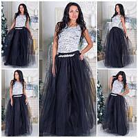 Фатиновая длинная юбка в цветах s-5JU74