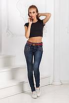 ДТ0100 Стильные облегающие джинсы с бусинами, фото 2