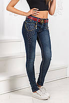 ДТ0100 Стильные облегающие джинсы с бусинами, фото 3