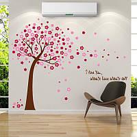 Интерьерная наклейка на стену Дерево с цветами (AY9026AB)