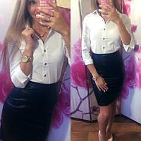 Женская белая и черная рубашка с рукавом 3/4 f-19BL122
