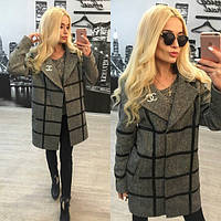 Модное твидовое пальто с кожаными вставками s-31PA64