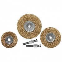 Набор щеток для дрели, 3 шт., 3 плоские, 50-63-75 мм, со шпильками, металлические// MTX