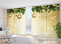 """ФотоШторы в зал """"Новогодние украшения"""" 2,7м*2,9м (2 полотна по 1,45м), тесьма"""