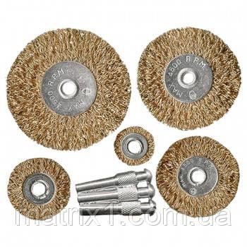 Набор щеток для дрели, 5 шт., 5 плоских 25-38-50-63-75 мм, со шпильками, металлические// WERK