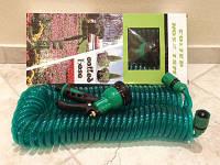 Садовый шланг для полива спиральный,30 м длиной, экономичный, с удобным разбрызгивателем