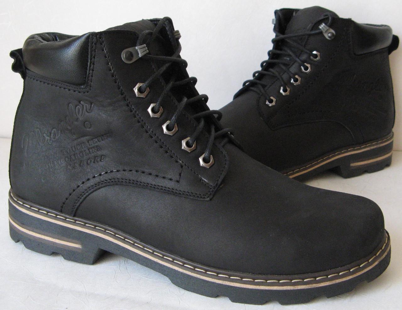 7dabd0c61 Мужские зимние ботинки черные натуральная кожа обувь в стиле Вранглер  сапоги - Trendy