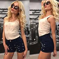 Короткие женские джинсовые шорты с бусинами w-3JU2116