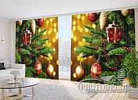 """ФотоШторы в зал """"Новогодние шары"""" 2,7м*2,9м (2 половинки по 1,45м), тесьма"""