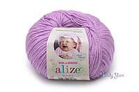 Турецкая пряжа Alize Baby Wool полушерсть нежно розовый №672
