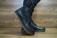 Мужские кожаные зимние ботинки YDG черного цвета 10464